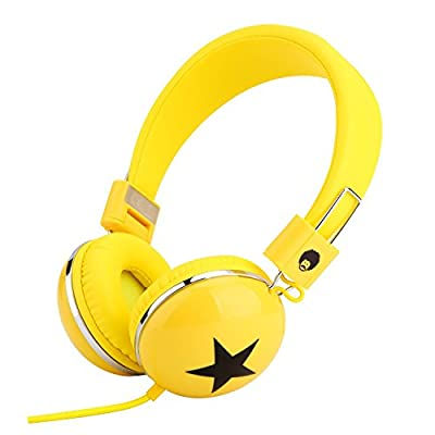RockPapa 828 On Ear Star Headphones Foldable, Adjustable Headband for Kids/Adults, iPhone iPod iPad Smartphones Tablets Computer DVD Yellow