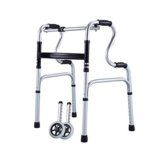 FKDEWALKER Aluminium Folding Lightweight Walking Frame,Walking Mobility Aid,Walker with Wheels for Elderly