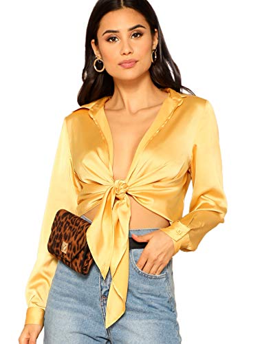 SheIn Women's Long Sleeve Self Tie Knot Front Satin Crop Top Blouse Shirt Yellow S