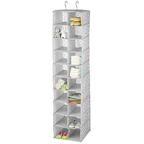 mDesign Organizador de armarios con 20 apartados – Armario de tela con estampado de lunares – Estantería colgante perfecta para el dormitorio de los niños – gris y blanco