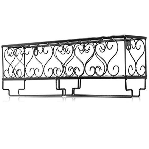 LYN-UP Weinregal, Weinregal aus Metall, an der Wand befestigter Becherhalter |Regal- und Aufhängeschienen-Design (schwarz, weiß) (Color : White, Size : 50 * 10 * 17cm)