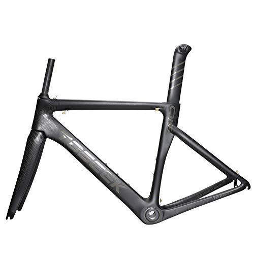 T800 Cuadro de Bicicleta de Carretera de Carbono, Cuadro de Bicicleta de Carbono Completo 700C con Tubo de Asiento Tenedor Delantero Ciclismo Marco de Bicicleta Super Ligero 1200g,51cm/S