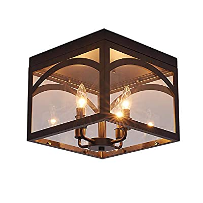Airposta 4-Light Industrial Close to Ceiling Light Fixture, Farmhouse Lantern Square Flush Mount Ceiling Lamp Lighting for Kitchen Island Dining Room Bedroom Foyer Hallway