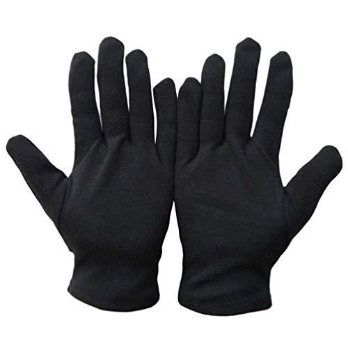 Solustre 12 Paar baumwollhandschuhe Schwarz Stoff Handschuhe Schutzhandschuhe Arbeitshandschuhe Juweliergeschäft Schmuckinspektion Zeremonie Etikette Restaurant Zuhause Labor Im Freien (Größe L)