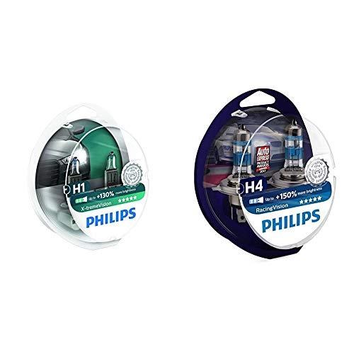 Philips 12258XVS2 X-treme Vision - Bombilla H1 +100% para faros delanteros (2 unidades) + MT-PH 12342RVS2 RacingVision Bombilla para Faro de Coche, H4, 2 Piezas