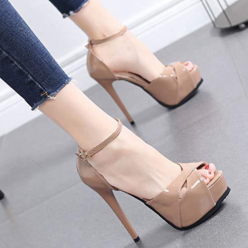 HRCxue Pumps Fischmundschuhe weibliche und weibliche Sandalen mit Einer Schnalle High Heel Stiletto 13 cm Super High Heel sexy Damenschuhe, 35, leichte Bohnenpaste