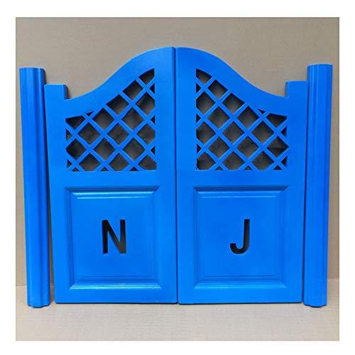 GuoWei Wooden Cafe Door Saloon Door Swinging Door Kitchen Bar Restaurant Entrance Partition Room Divider, Hinge Included, Customizable (Color : Blue, Size : 95x70cm)