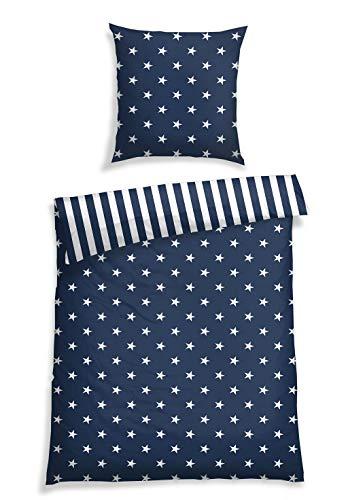 Schiesser Feinbiber Bettwäsche Sterne Blau, 100% Baumwolle, Größe:135 cm x 200 cm