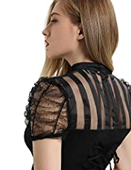 SCARLET DARKNESS Women's Victorian Lace Steampunk Shirt Blouse with Jabot Neckline Black Size XL #4