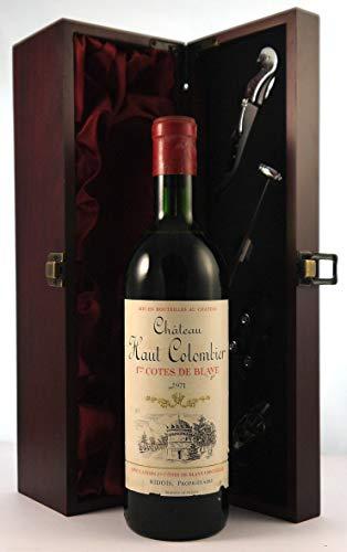 Chateau Haut Colombier 1971 Bordeaux in einer mit Seide ausgestatetten Geschenkbox, da zu 4 Weinaccessoires, 1 x 750ml