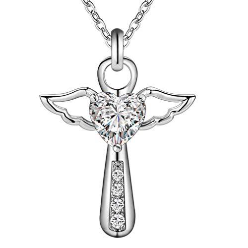 Europese amerikaanse mode vrouwen engel vleugel vorm hanger ketting elegante vrouwelijke zirkoon ketting sieraden beste cadeau wit