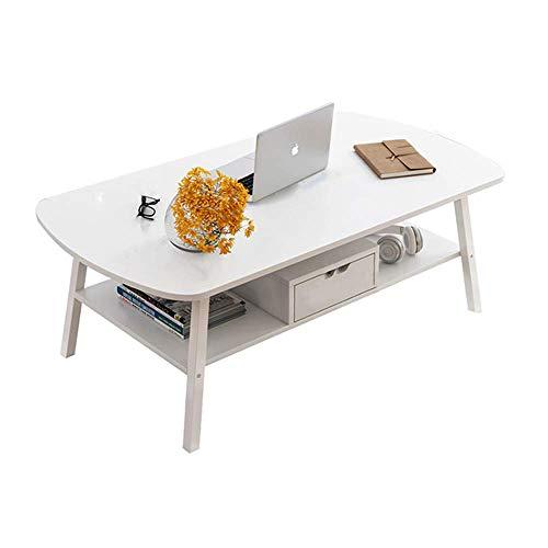 Living Equipment Mesas de centro simples de 2 niveles Mesa auxiliar creativa de madera maciza Mesas auxiliares rectangulares modernas para sala de estar para muebles de oficina [Clase energética A