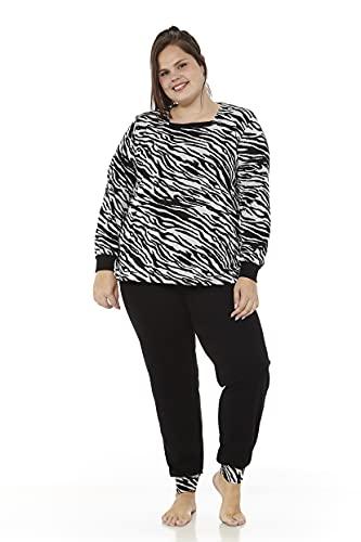Mabel Intima Piżama rozmiar 46 do rozmiaru 70 damska pidżama zima duże rozmiary, Czarny / zebra,