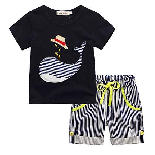 IMJONO Ensemble Bébé Garçon T-Shirt Ete Coton Manche Courte Chemise Haut Tops + Rayé Short Pantalon Court Vêtements pour Enfant Pyjama 2-7 Ans(Noir,5 Ans