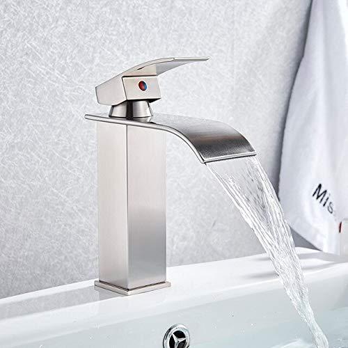 BDWS Cascada Grifo para lavabo de baño, Negro, Grifo, Baño, Grifo, Agua fría y caliente, Grifo de tocador, Grifo de mesa, Grifo táctil para lavabo Australia Níquel cepillado A