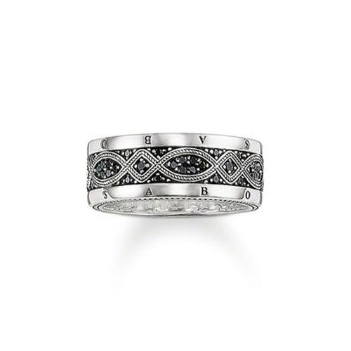Thomas Sabo Damen-Ring Rebel at heart 925 Silber Zirkonia schwarz Gr. 62 (19.7) - TR2006-051-11-62