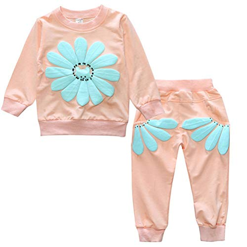 2 Pcs Infant Baby Girl Long Sleeve Flower T-Shirt Tops Pant Outfits Toddler Clothes