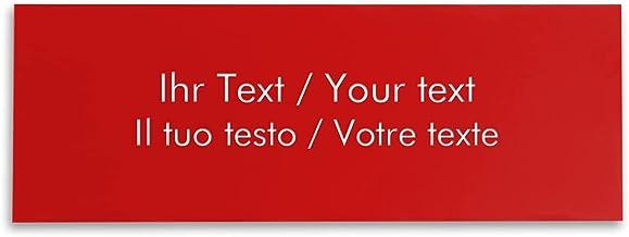 Naamplaatje met persoonlijke tekst, rechthoekig kunststof bord in rood-wit - belbord, deurplaatje, gravureplaatje 250 x 90...