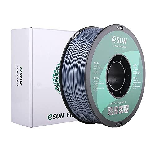 eSUN Filamento ABS Plus 1.75mm, Stampante 3D Filamento ABS+, Precisione Dimensionale +/- 0.05mm, Bobina da 1KG (2.2 LBS) Materiali di Stampa 3D per Stampante 3D, Grigio