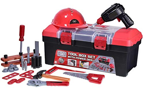 Guilty Gadgets Kids 40 Piece Toolbox Toolkit Set | Children DIY Safety Helmet, Drill, Hammer Plier Tools Learning Toy | Battery Operated