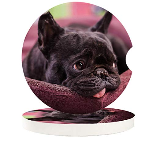 2 Piece Ceramic Stone Coasters Set French Bulldog Cute Pet Super Absorbent Car Cup Holder for Drinks Auto Decor Coaster