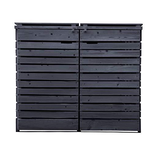 Fairpreis-design Mülltonnenbox Mülltonnenverkleidung 2 Tonnen Holz 120L - 240L anthrazit inkl. Rückwand vorimprägniert vormontiert Müllcontainer Mülltonne Mod.H