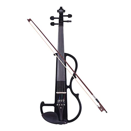 Violín de tamaño completo 4/4 de madera maciza eléctrica silenciosa violín principiantes...