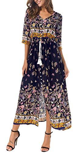 Kormei Damen Blumen Maxikleid Bohemien 3/4 Arm A-Linie Lang Kleider Sommerkleid Partykleid Blau XL