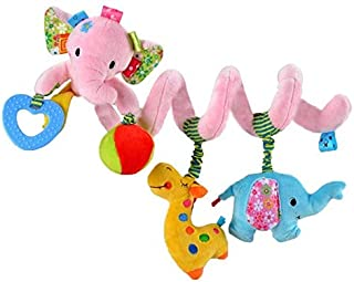 VX-star Baby Pram Crib Ornament Hangings Pink Cute Little Elephant Shape Design Spiral Plush Toys Stroller and Travel Activity Toy