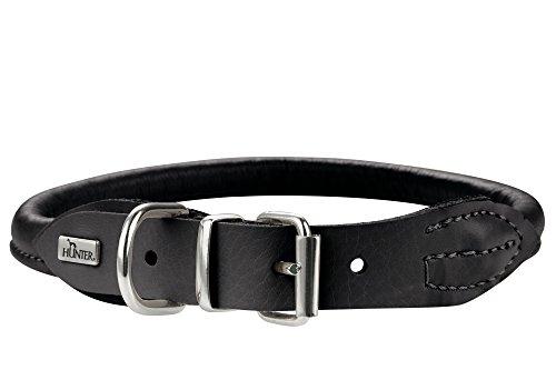 Hunter Collar de Perro de Piel de Alce Redondo y Suave, Color Negro, Ajustable 51-56 cm