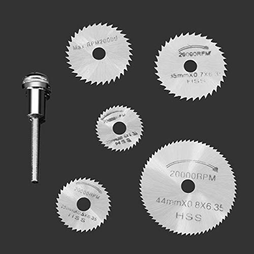 F-MINGNIAN-TOOL, 6 stks/set Mini HSS Circulaire Zaag Blade Roterende Tool Voor Dremel Metalen Snijder Power Tool Set Hout Snijden Schijven Boor Mandrel Cutoff