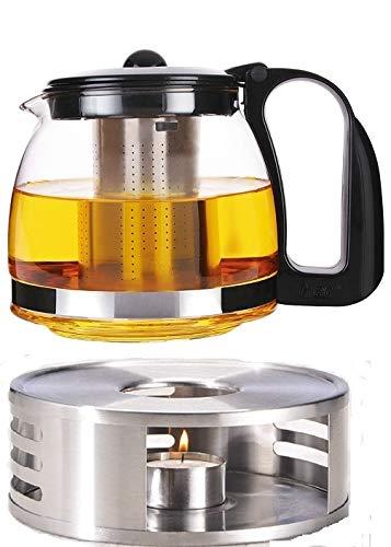 Premium Tee Geschenk Set vom Allerfeinsten bestehend aus Glas Teekanne mit Teesiebeinsatz Edelstahl Stövchen