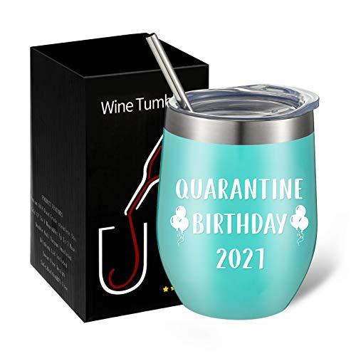 GOTH Perhk Tasse mit Quarantäne-Motiv zum Geburtstag 2021, lustiges Quarantäne-Geburtstagsgeschenk, 340 ml, Edelstahl, vakuumisoliert, Weinglas (mintgrün)