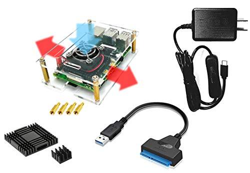 Raspberry Pi 4 ケース + 5V/3A 電源ユニットセット(Type-C) + SATAアダプタ (オープン型, ファンあり)