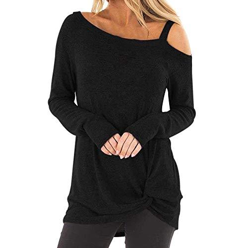 Femmes Mode Chic sans Bretelles Tunic en Vrac Grande Taille Manche Longue O-Cou Pullover Décontractée Solide Sweatshirt Ensemble Asymétrique T-Shirt Hauts Chemisier(M,Noir-1)