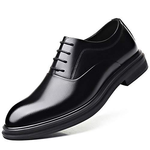 JEOSNDE Zapatos Formales de Negocios for Hombres Cordones de Cuero sintético Cordones cerosos Tacón de Bloque Moderno clásico (Color : Brown, Size : 38 EU)