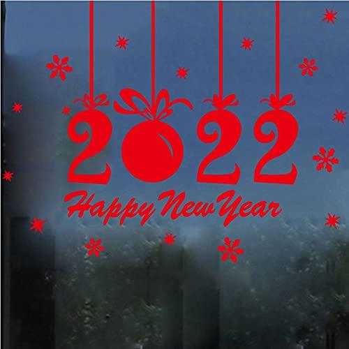 Usmnxo Pegatina de Vinilo de Copo de Nieve navideño, decoración de título, Pintura, Cartel de Ventana de Cristal de Año Nuevo de Navidad, 65x87cm