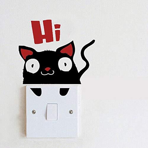 Pegatinas de pared con interruptor de gato sorprendido de dibujos animados decoración del hogar habitación de los niños vinilo extraíble arte sala de estar decorativo lindas pegatinas