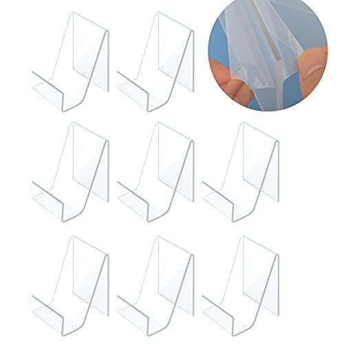 KINBOM 10 Piezas Soporte expositor metacrilato de Acrílico para Libros con Repisa, Pantalla Transparente Estante Exhibición Acrílico Soporte Para Tableta Transparente para Mostrar Imágenes