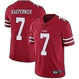 XGMJ Kaepernick T-shirt en jersey de rugby pour homme 49ers 7# Kaepernick brodé Maillot de football américain confortable respirant à manches courtes T-shirt à col en V rouge