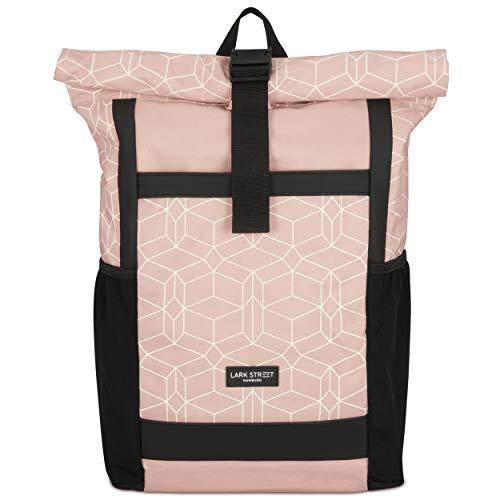 LARK STREET Rucksack Damen & Herren Rosa Gemustert No 2 Rolltop Backpack für den Alltag Uni Job Schule Fahrrad Freizeit – Recycelt & Wasserabweisend mit Laptopfach