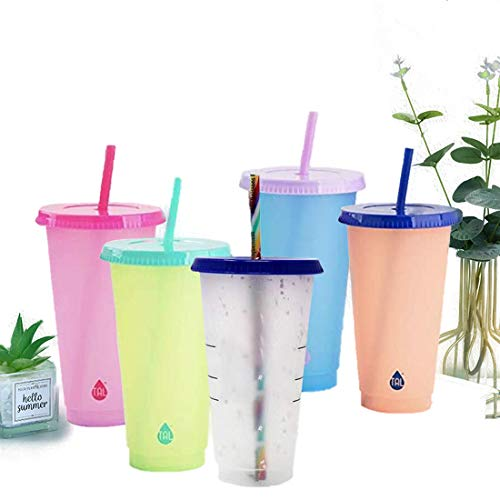 Vasos Plastico Duro Reutilizable Con Tapa Y Pajita vasos plastico  Marca HUONIUPIC