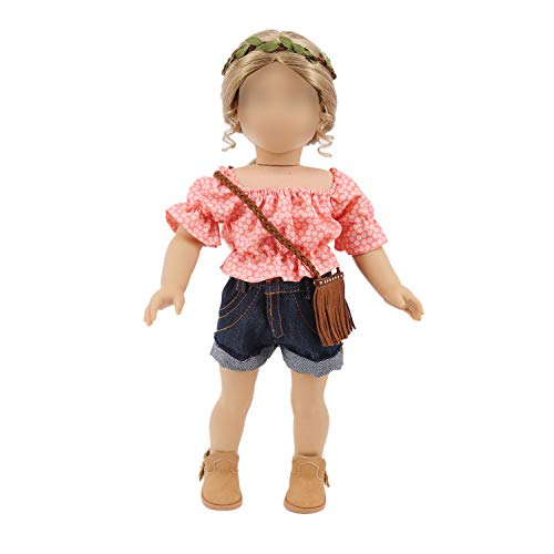 ZWSISU Doll Picnic Travel Playing Clothes, Shoes, Bag and Wreath for American 18 Inch Girl Dolls, Our Generation, My Life Dolls