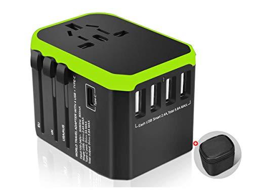 LEDLUX ESE027 Adattatore Caricabatterie da Viaggio Universale con Presa EU UK US aus CN con 4 Porte USB 5V 2,4A 1 Porta Type-C 5V 3A Borsetta Inclusa