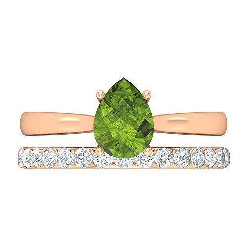 Rosec Jewels 14 quilates oro rosa pera Round Brilliant Green Peridoto/Olivino Moissanite