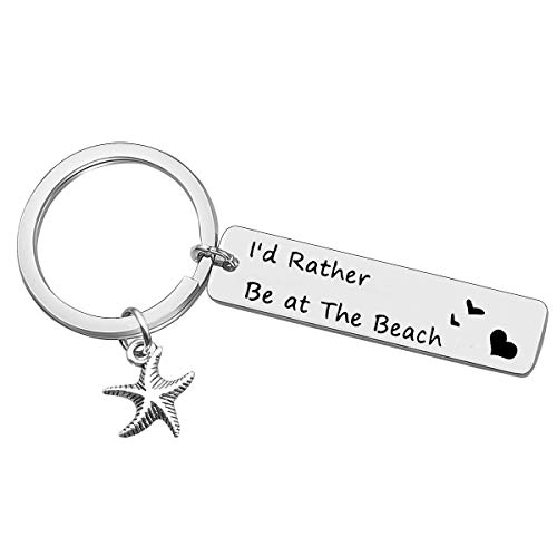 Baixian Beach Keychain Beach Lover Gift I'd Rather Be at The Beach Keyring Beach Jewelry for Beach Girls Friendship Gift BFF Gift Starfish Keychain Christmas Birthday Valentine's Day Gifts for Friends Family, Silver, Small