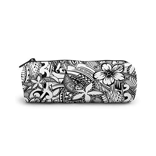 Federmäppchen aus Leinen mit hawaiianischem Polynesischem Tatoo-Aufdruck, Stifttasche, Schreibwaren-Tasche, Büro, Aufbewahrung, Organizer, Münztasche für Schule, Teenager, Mädchen, Erwachsene
