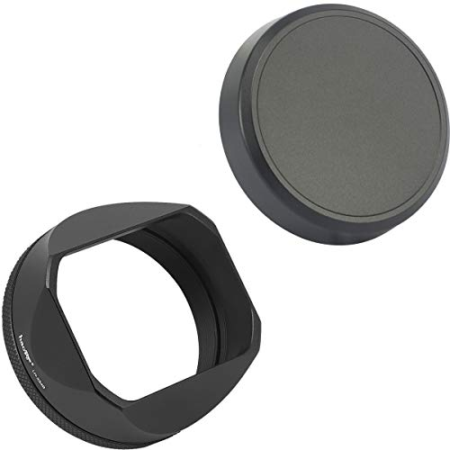 Haoge Square Metal Lens Hood Shade for Fuji Fujifilm FinePix X100V X100F X100 X100S X100T X70 Camera Black with Cap and 49mm Adapter Ring Kit