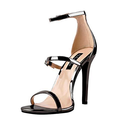Only maker Damen Riemchen Sandaletten High Heels Stiletto Absatz Sandalen Knöchel Schnalle Sommerschuhe Graphite 41 EU