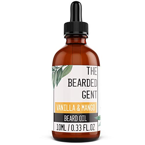 Beard Oil, The Bearded Gent's Beard Growth Oil & Gift Sets - 14 Scents available! (10ml, 30ml, 100ml & Grooming kits!) - For a thicker, softer & fuller beard! - Created with a premium Argan & Jojoba Oil base making it the finest UK produced beard oil! - Great when using with a beard comb! - Natural & not tested on animals - 100% Satisfaction Guarantee (Vanilla & Mango (10ml))
